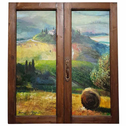Tuscany painting on wood | Wheat fields and vineyards in summer