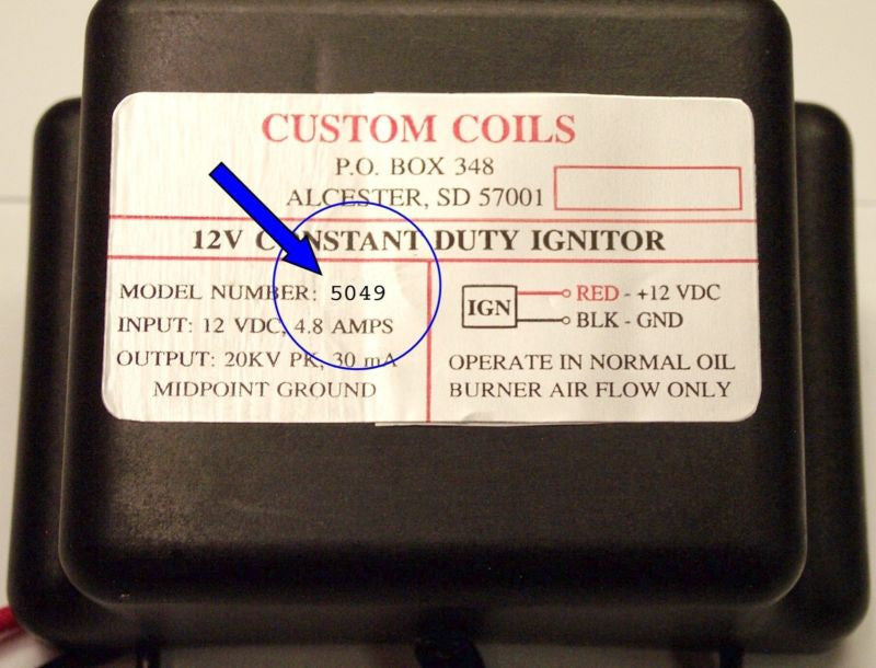 (5947) CUSTOM COIL 12V ELECTRONIC IGNITOR ONLY