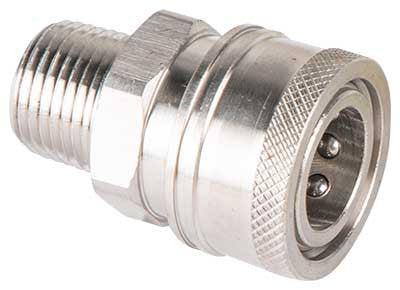 "(4629) QC SOCKET 1/4"" MNPT STAINLESS  STEEL"