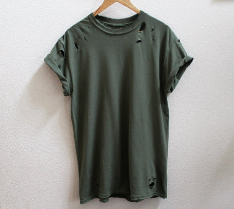 Distressed Olive Tee - House of W