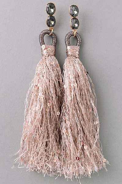 Plum Tassel Drop Earrings - House of W