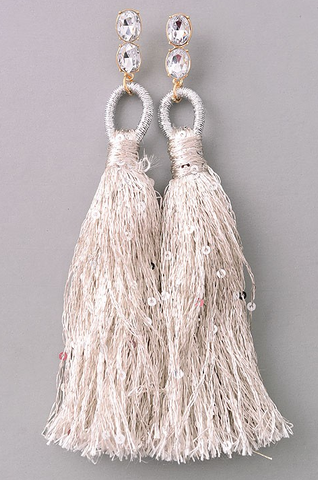 Silver Tassel Drop Earrings - House of W