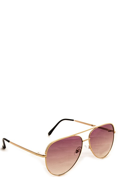 FOXY GOLD SUNGLASSES - BROWN FADE LENSES - House of W