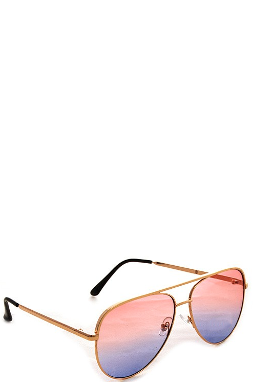 FOXY GOLD SUNGLASSES - PINK FADE LENSES - House of W