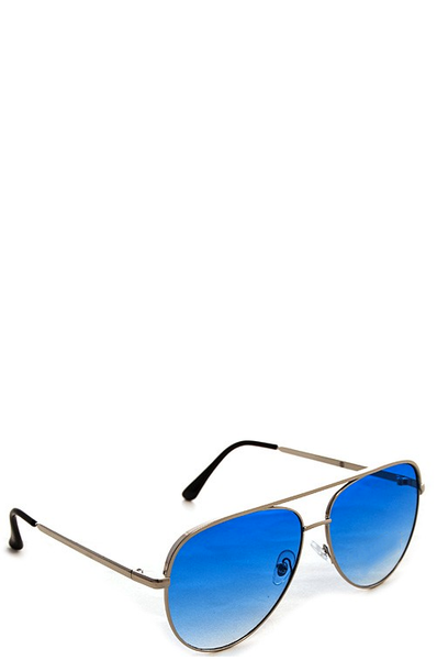 FOXY SILVER SUNGLASSES - BLUE FADE LENSES