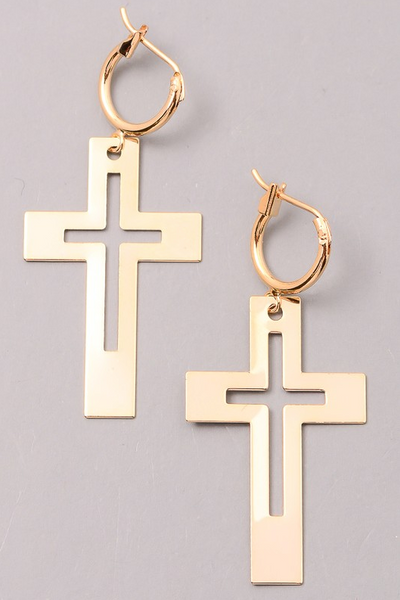 Cross Cut Out Dangle Earrings - Gold - House of W