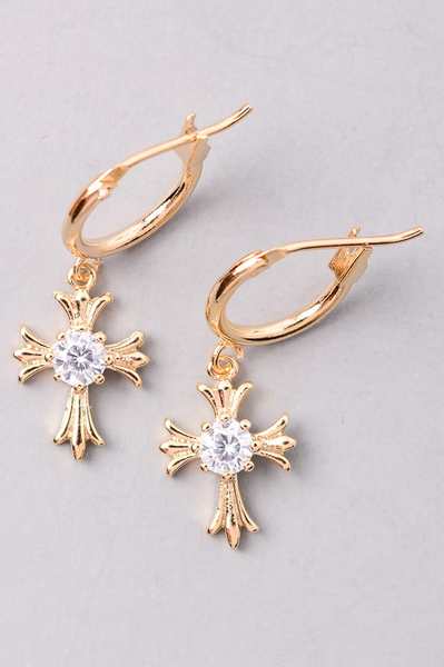 Tiny Cross Earrings - Gold - House of W