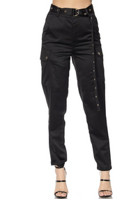 Satin Cargo Pants - Black - House of W
