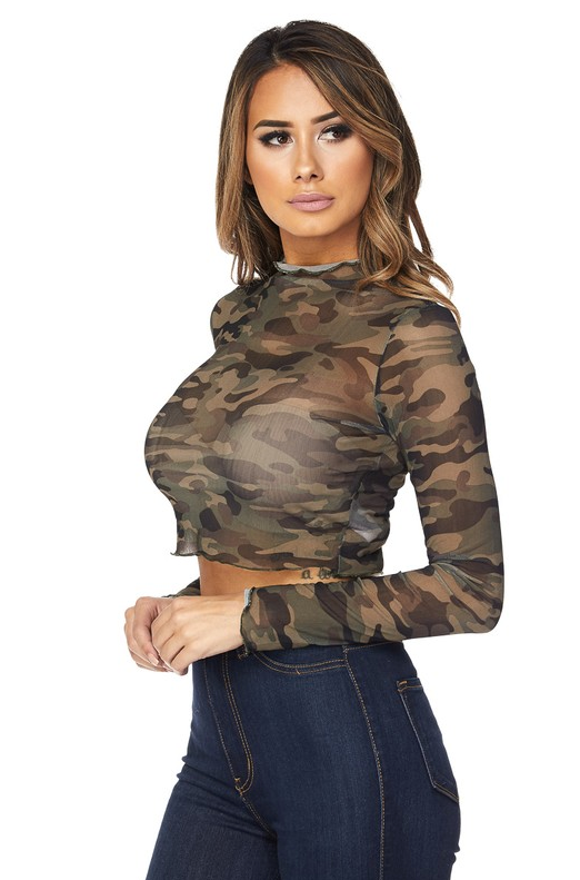 Camo Mesh Cropped Tee - House of W