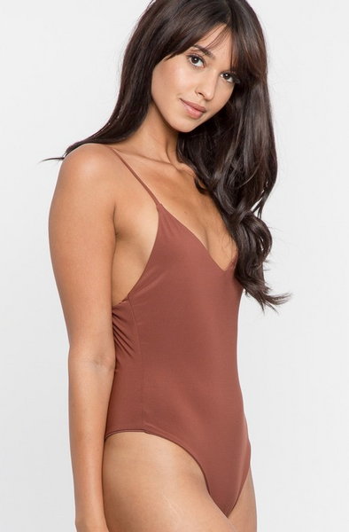 Basic V Neck Bodysuit - Red Brown - House of W
