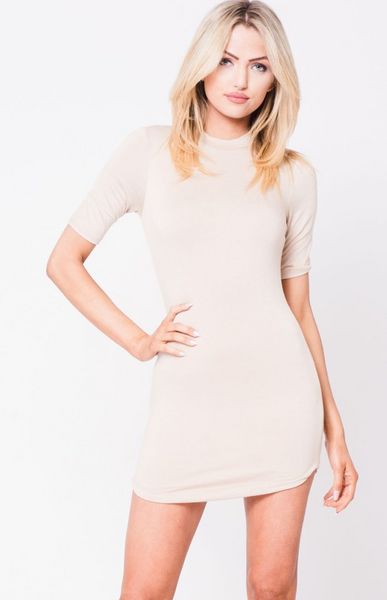 Crew Neck Mini Dress - Taupe - House of W