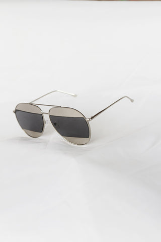 Avant Split Silver Aviator Black Lenses - House of W
