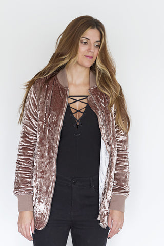 Blush Crushed Velvet Bomber - House of W