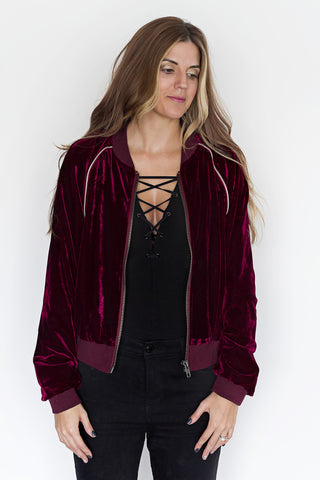 Burgundy Velvet Bomber Jacket - House of W
