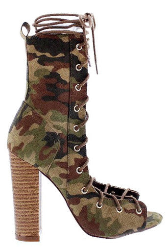 Camo Lace Up Bootie - House of W