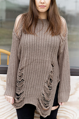Cappuccino Distressed Sweater