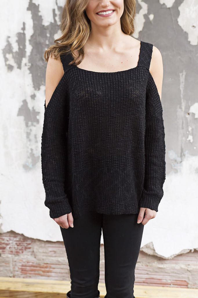 Cold Shoulder Black Sweater - House of W