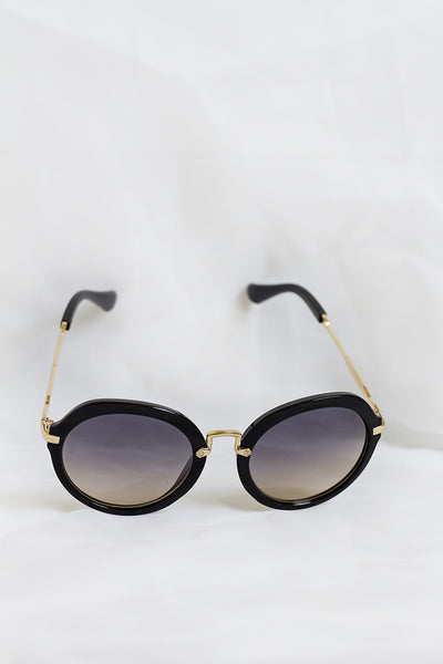 Fancy Black Sunglasses - Black/Tan Lenses - House of W