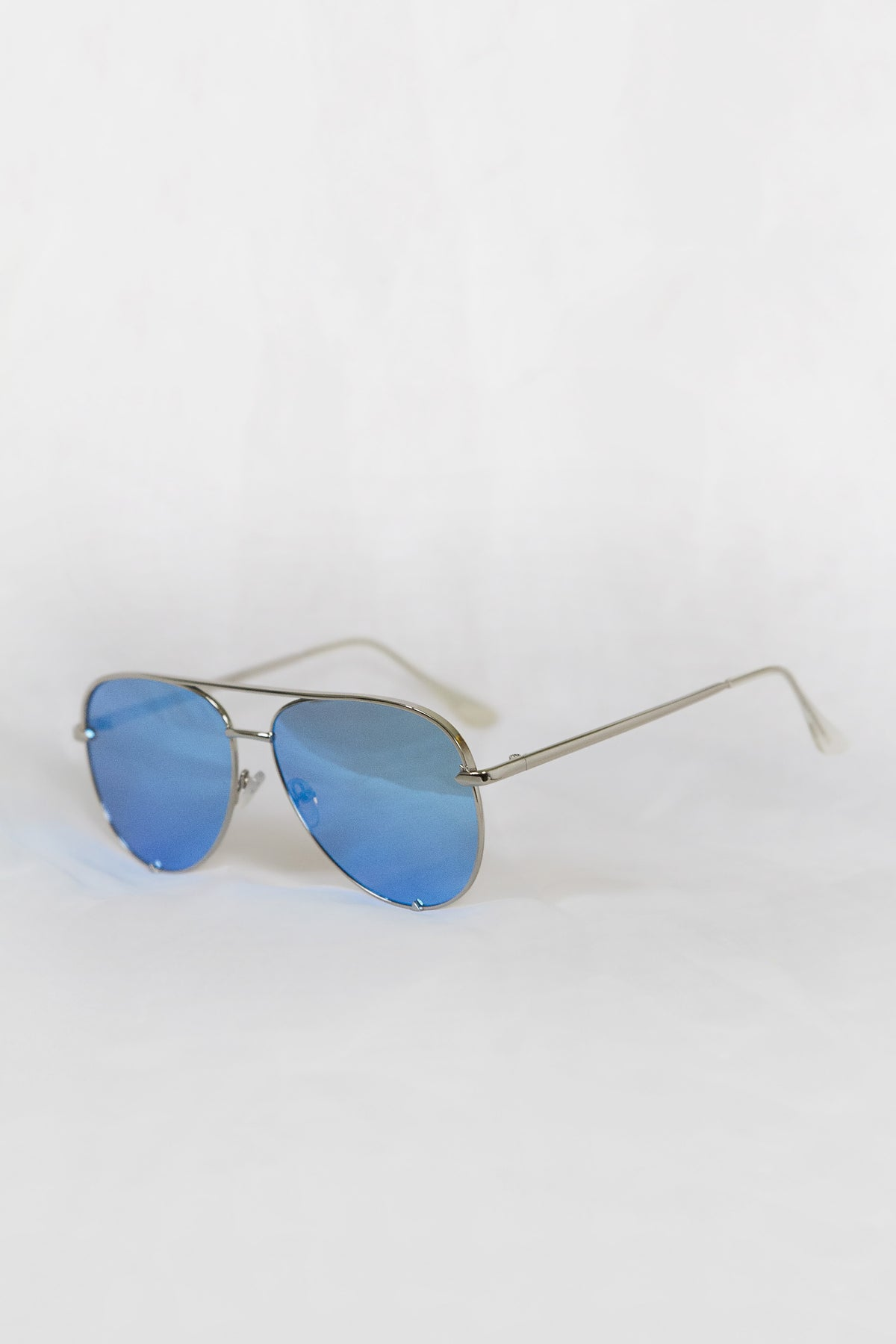 Foxy Silver Sunglasses - Blue Lenses - House of W