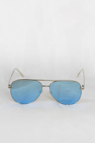 Foxy Silver Sunglasses - Blue Lenses