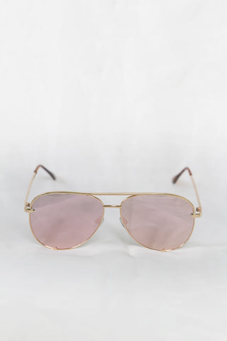 Foxy Gold Sunglasses - Pink Lenses