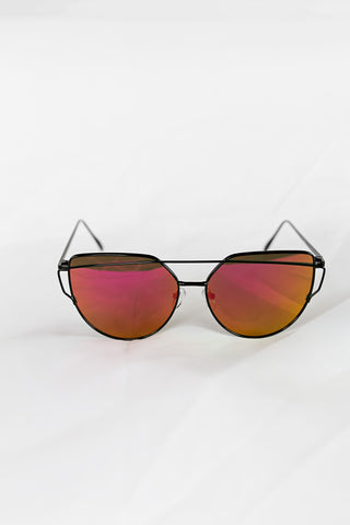 Glamour Black Sunglasses - Red Lenses - House of W