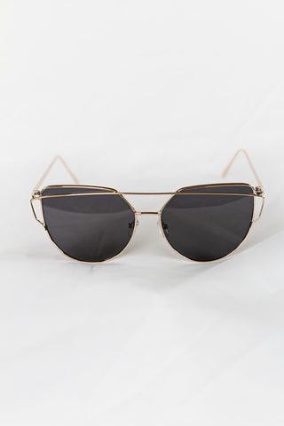 Glamour Gold Sunglasses - Black Lenses - House of W