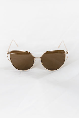 Glamour Gold Sunglasses - Hazel Lenses - House of W