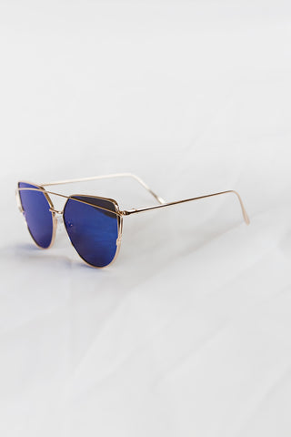 Glamour Gold Sunglasses - Blue Lenses - House of W