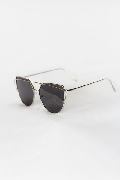 Glamour Silver Sunglasses - Black Lenses - House of W