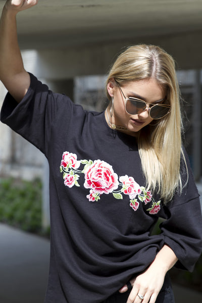 Floral Embroidery Tee - House of W