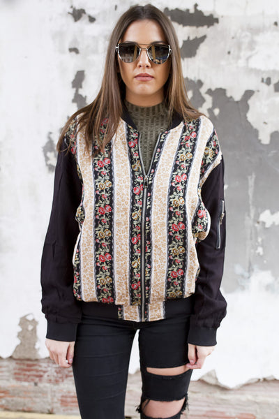Floral Printed Bomber Jacket - House of W