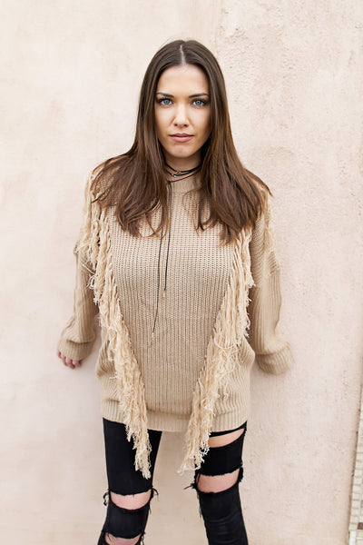 Cozy Fringe Sweater - House of W