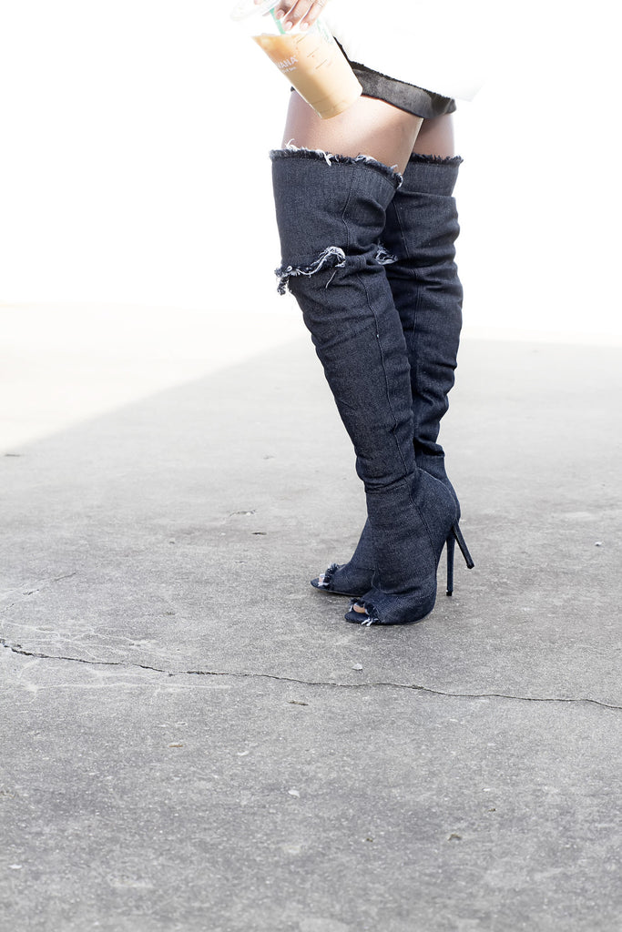 Black Denim Distressed Boots - House of W