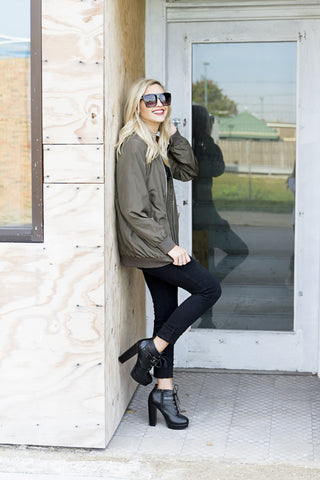 Olive That Bomber Jacket - House of W
