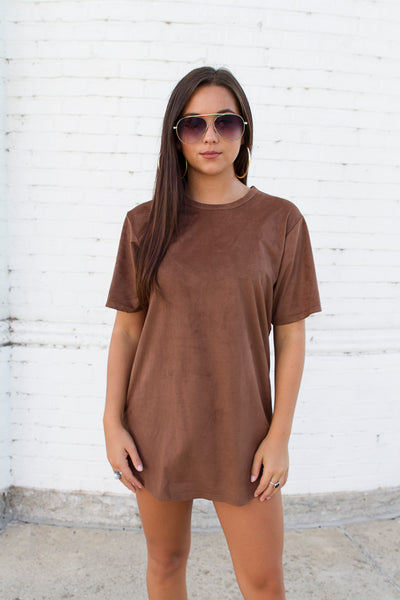 Suede Long Chocolate Tee - House of W