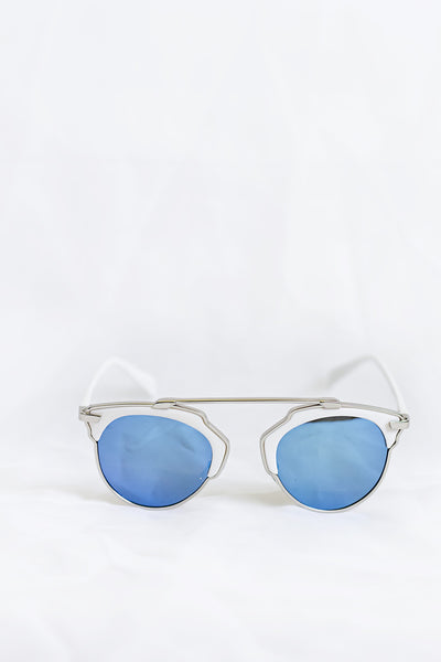 Icon White Sunglasses - Blue Lenses - House of W