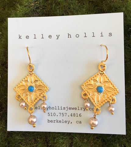 Turquoise 22ct Earrings
