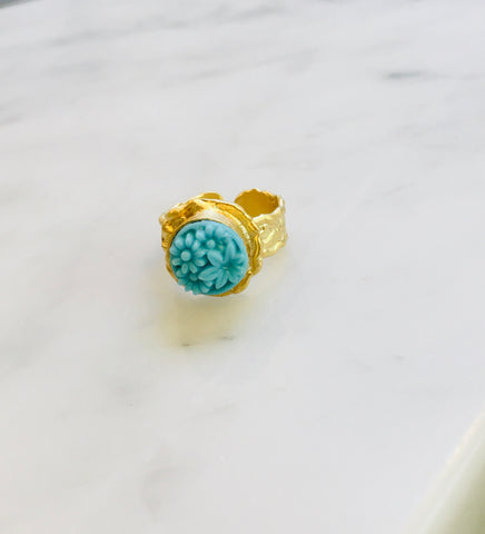 Blue Glass Button Ring