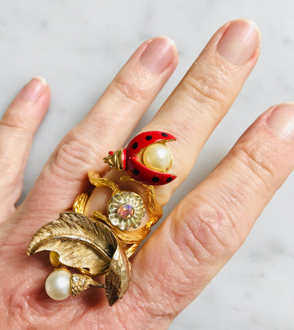 Ladybug and Pearl Ring