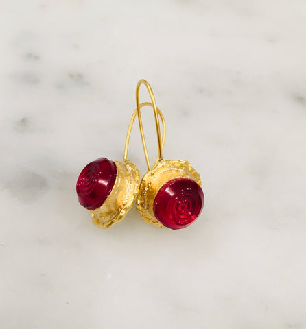 Ruby Glass Earrings