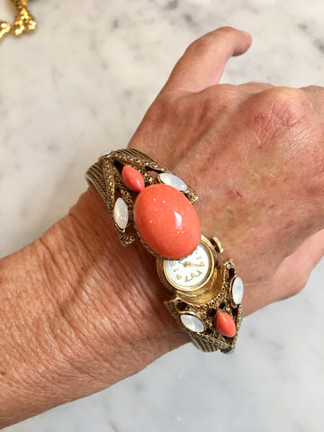 Coral and Moonstone Cuff