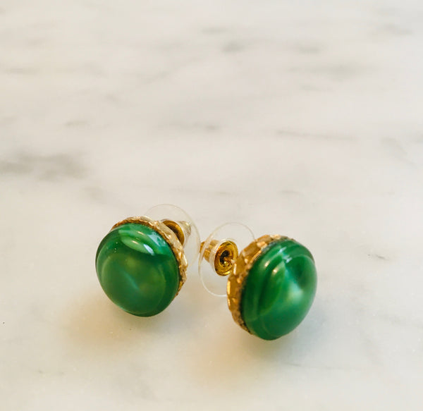 Green Glass Button Earrings