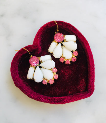Milkglass and Pink Earrings