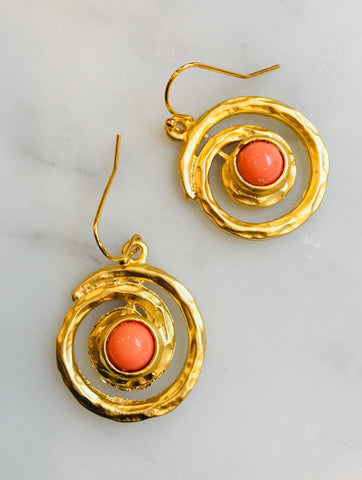 Coral Swirl Earrings