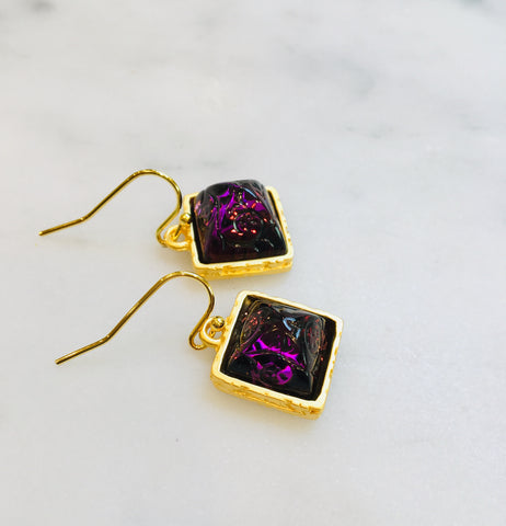 Amethyst Glass Earrings