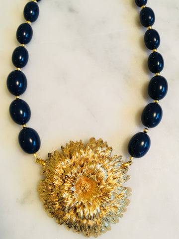 Mum with Dark Navy Beads