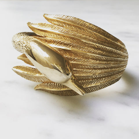 Rare Castlecliff vintage swan clamper bracelet.  Highly collectible.