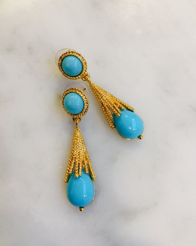 Starburst Earrings, Turquoise, 18ct gold