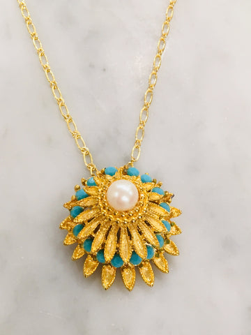 Turquoise and Pearl Flower